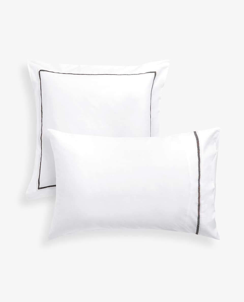 PILLOWCASE WITH EMBROIDERED BAND