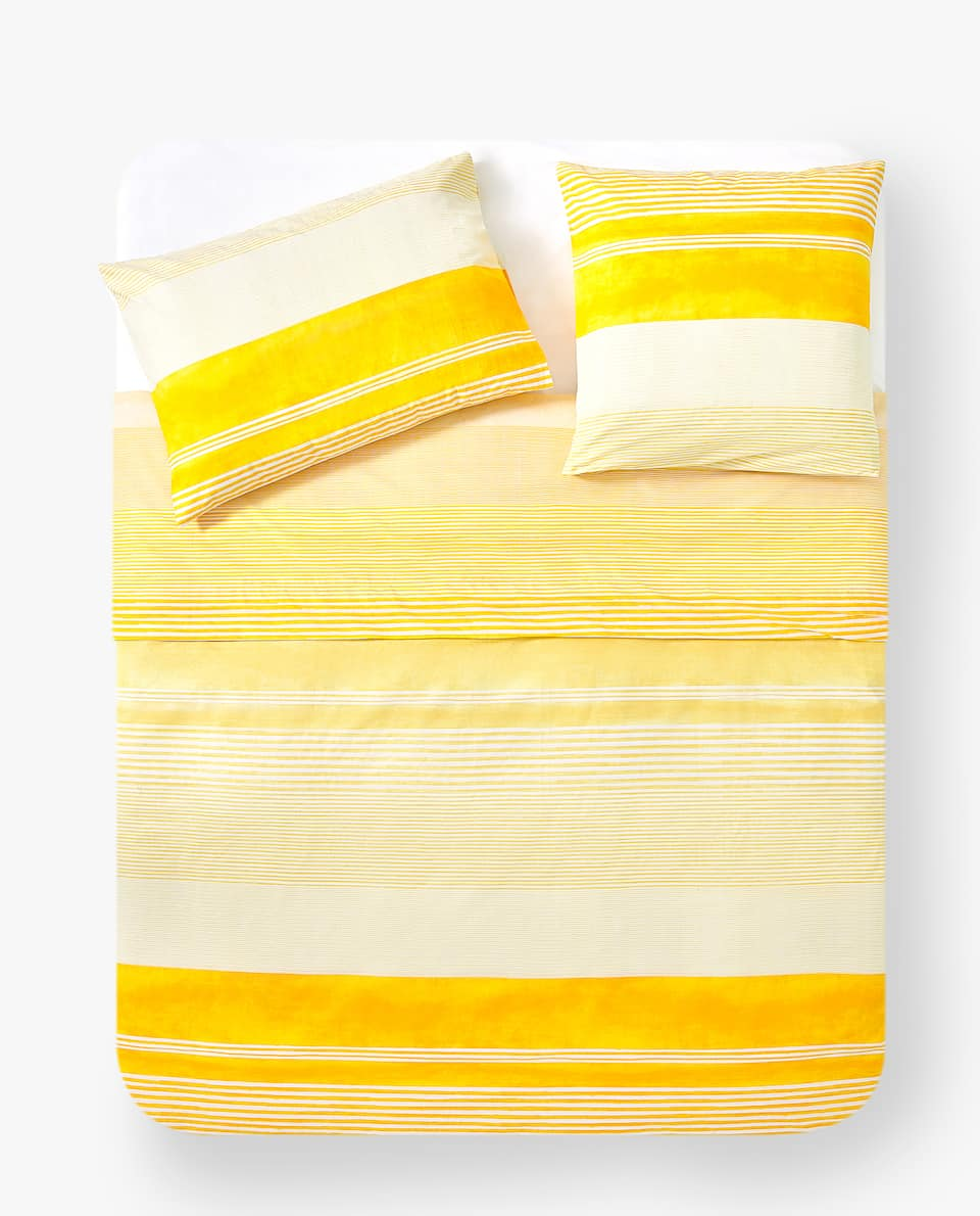 YELLOW STRIPE PRINT DUVET COVER