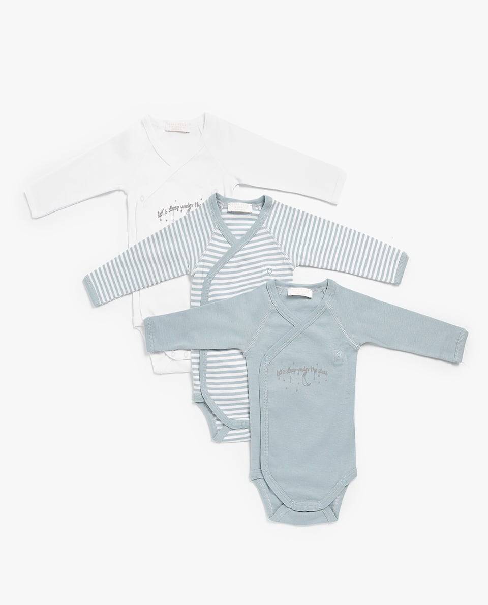 COTTON WRAP BODYSUIT (SET OF 3)