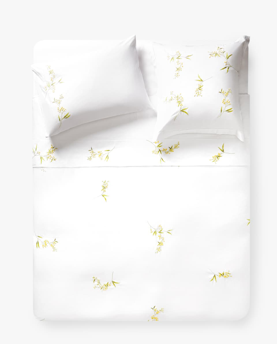 DUVET COVER WITH EMBROIDERED MIMOSA