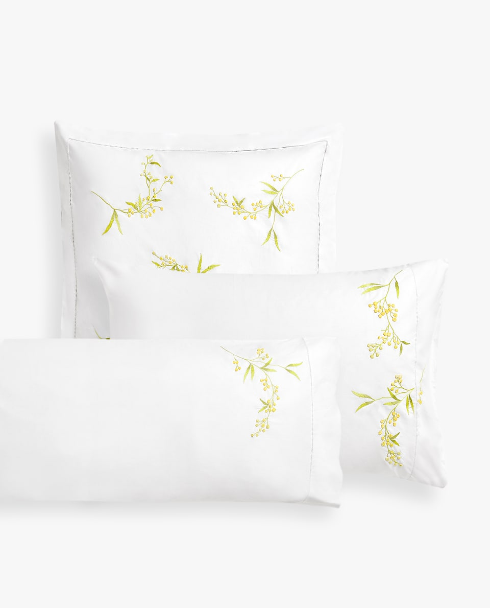 PILLOWCASE WITH MIMOSA EMBROIDERY