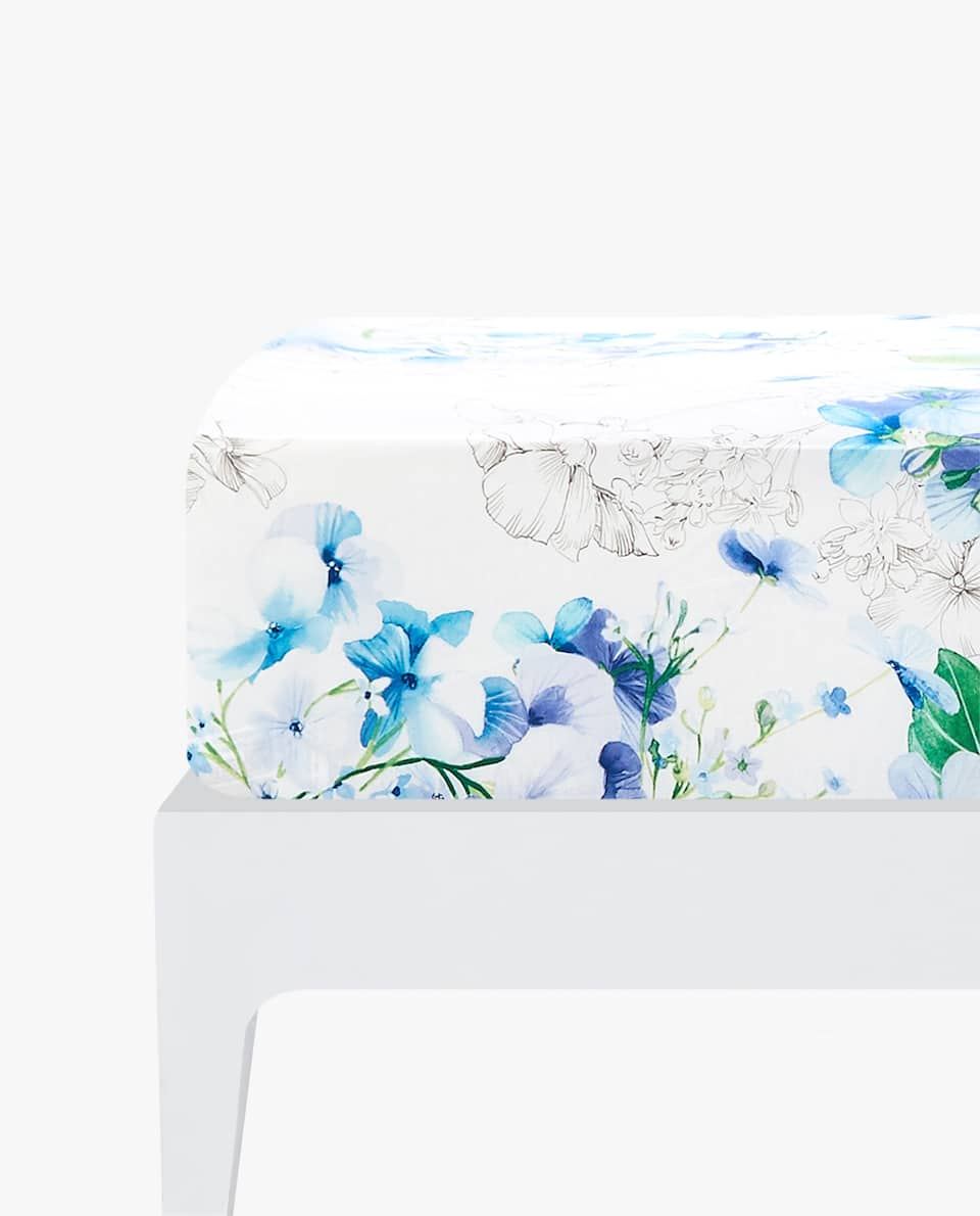 WATERCOLOUR FLOWER FITTED SHEET