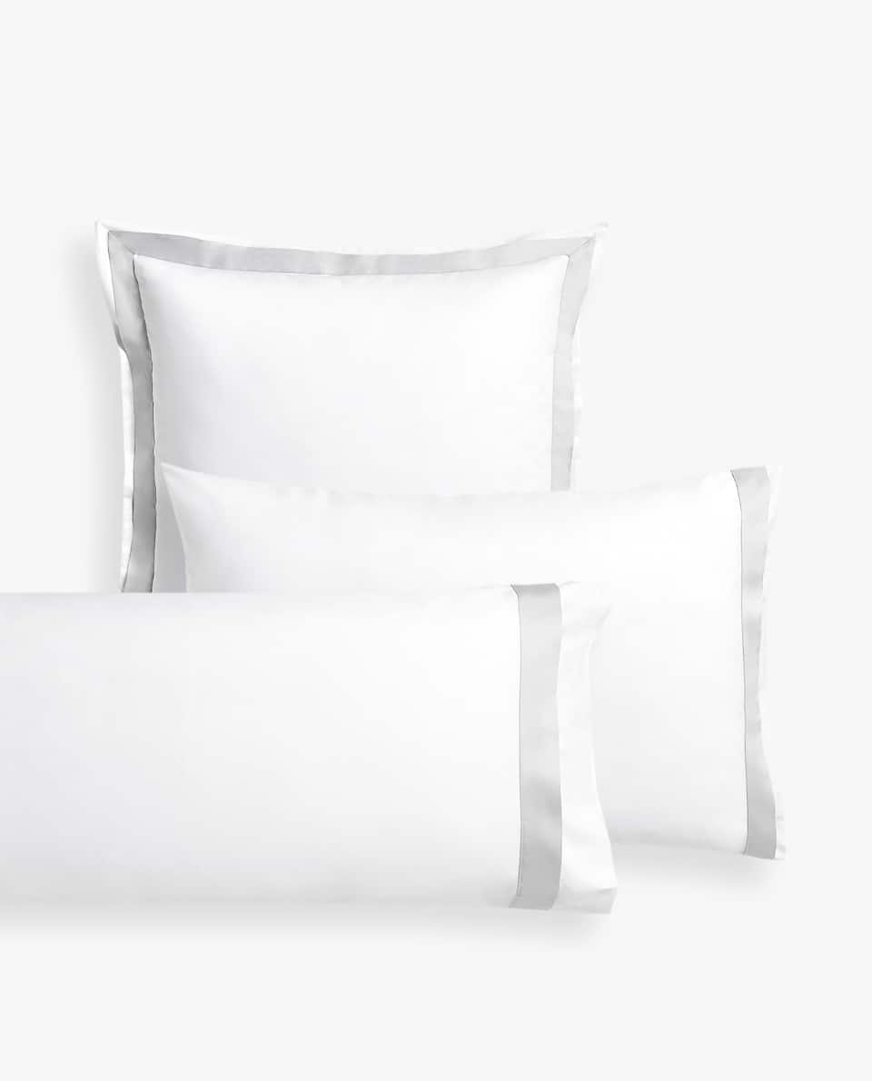 PILLOWCASE WITH CONTRAST SATIN BAND