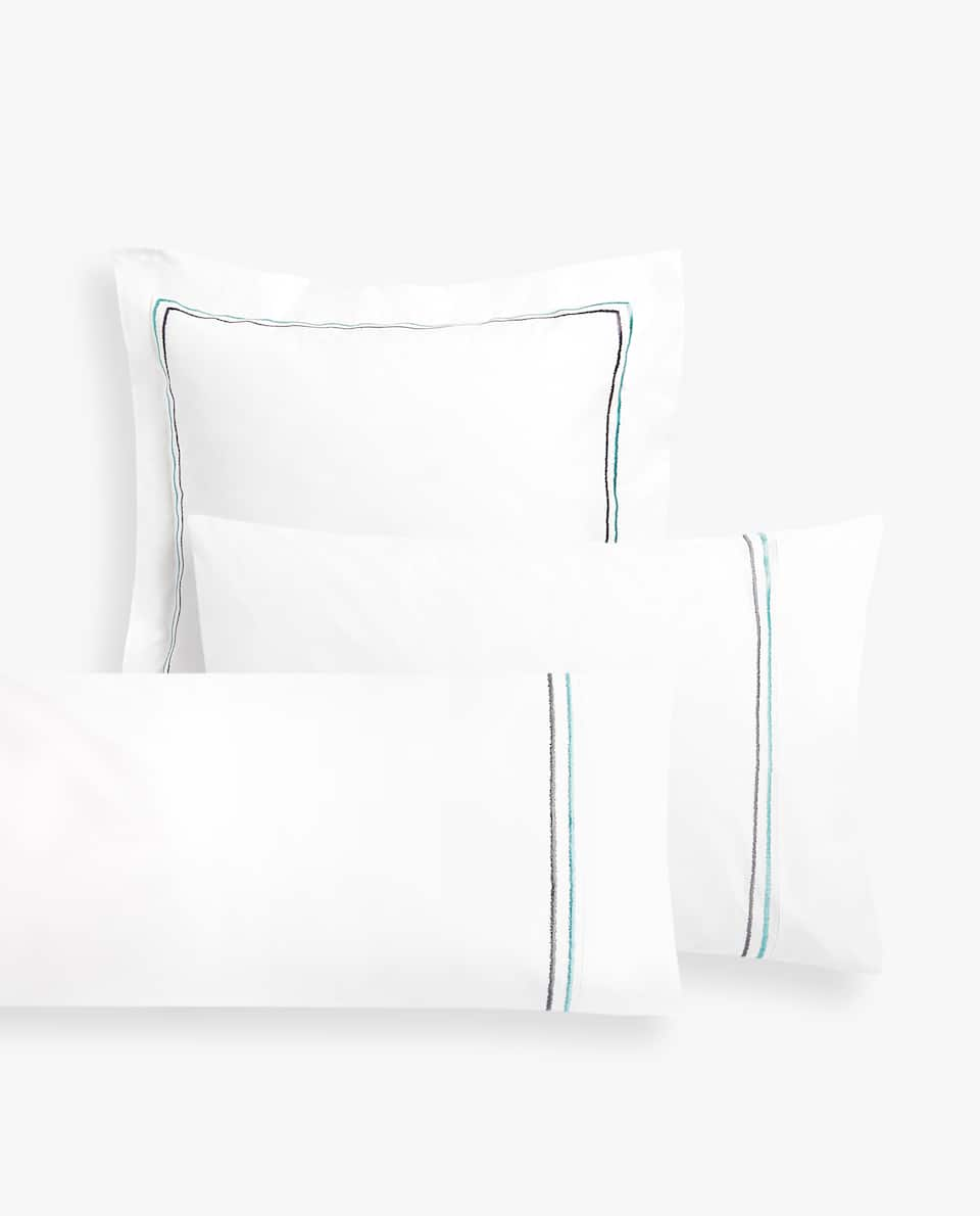 PILLOWCASE WITH TWO EMBROIDERED DETAILS