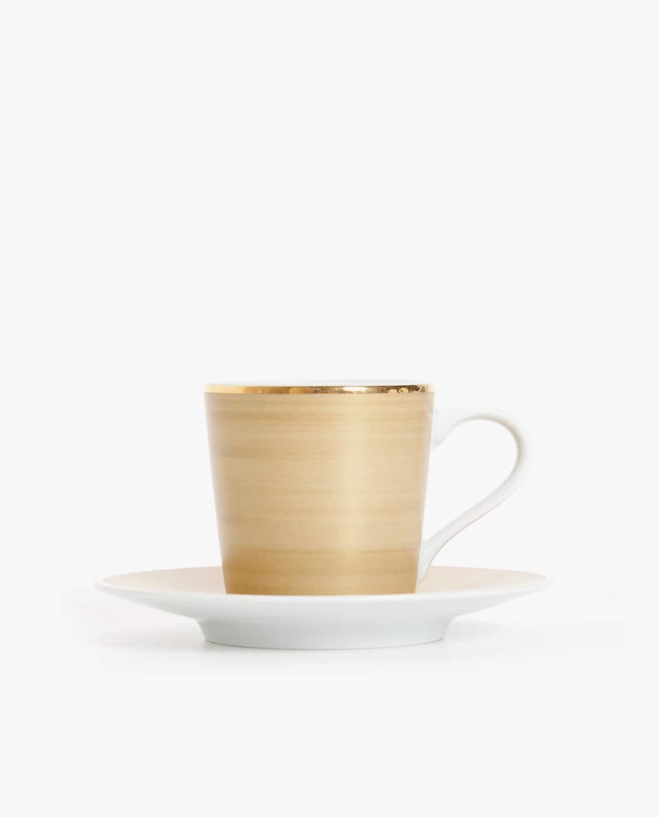 PORCELAIN COFFEE CUP AND SAUCER WITH BORDER