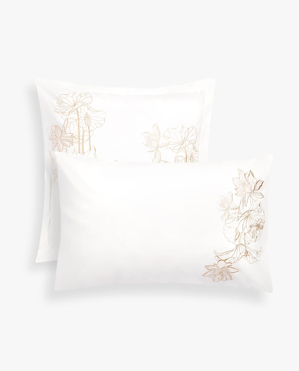 EMBROIDERED LOTUS FLOWER PILLOWCASE