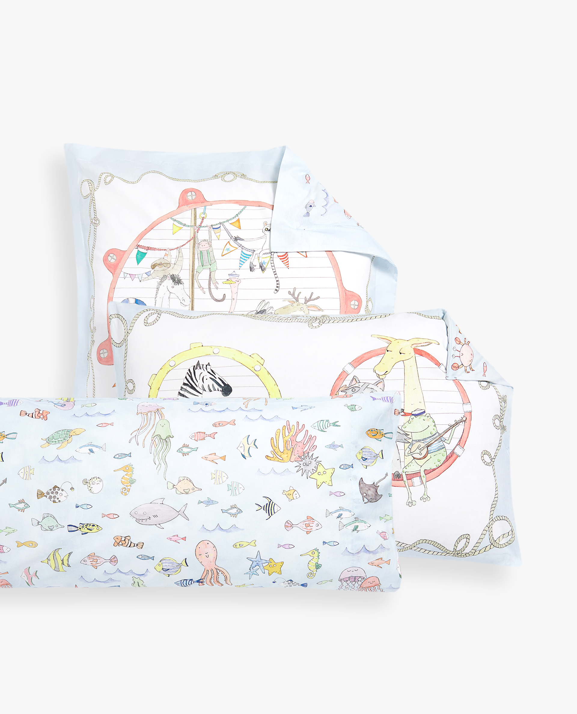 REVERSIBLE ANIMAL ARK PRINT PILLOWCASE