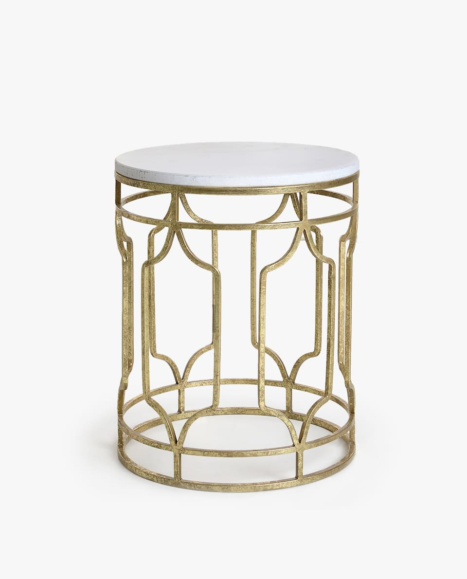 MARBLE TABLE WITH GOLD STRUCTURE
