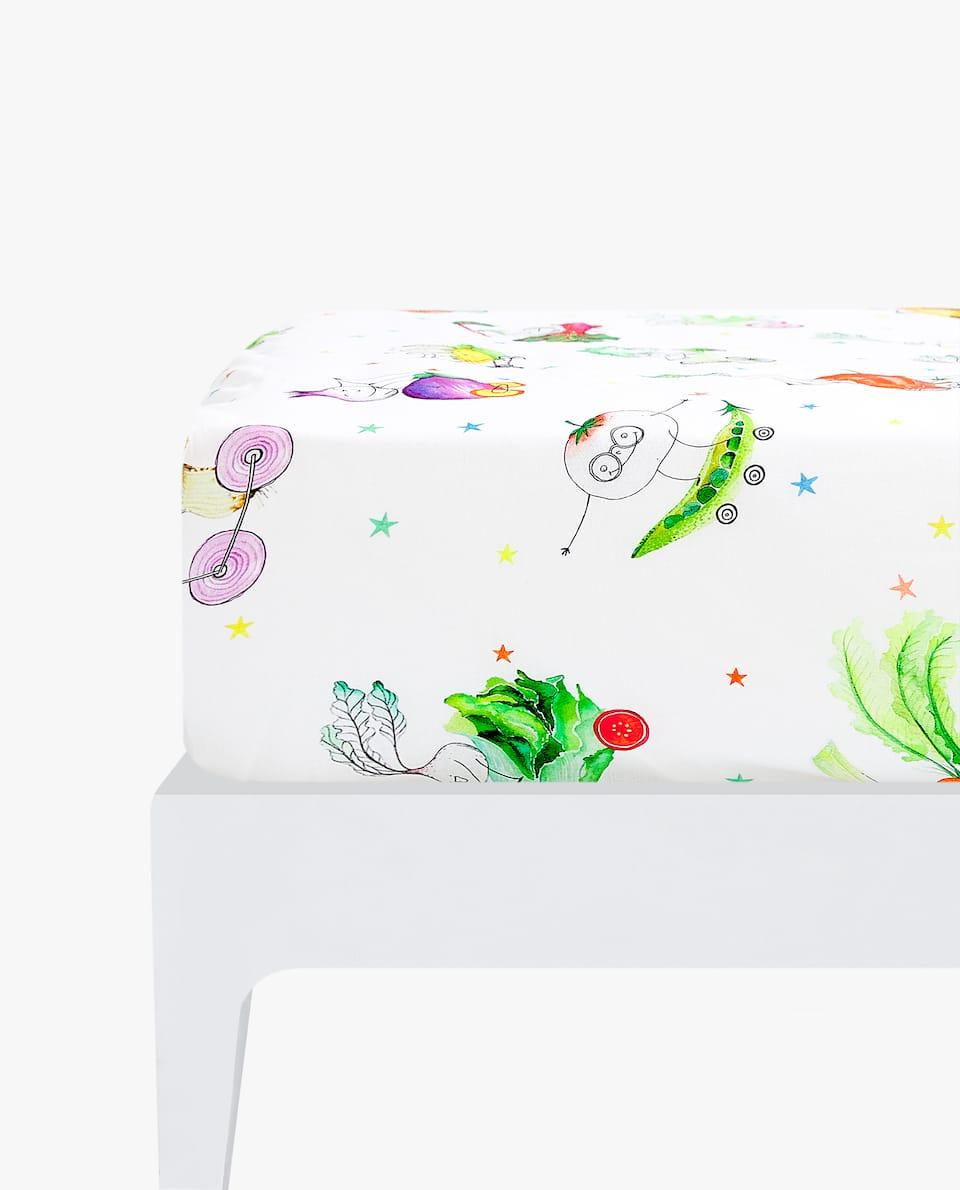 VEGETABLE CAR PRINT FITTED SHEET