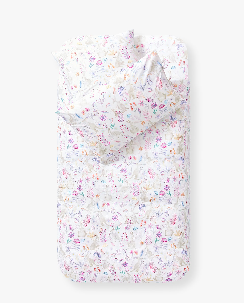 FLOWER AND KANGAROO PRINT DUVET COVER