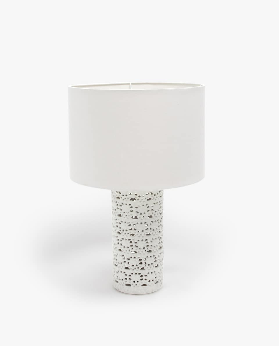 White cylindrical lamp
