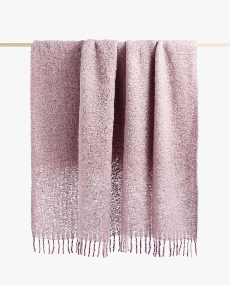 FRINGED MOHAIR BLANKET