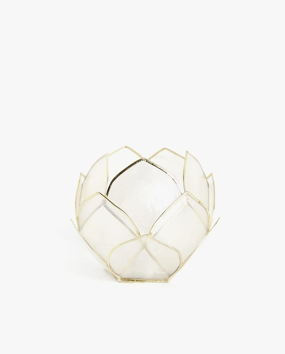 GOLD WINDOWPANE OYSTER TEALIGHT HOLDER