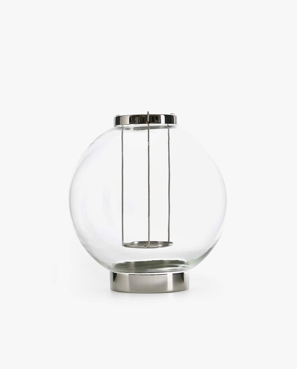 GLASS LANTERN WITH STAND