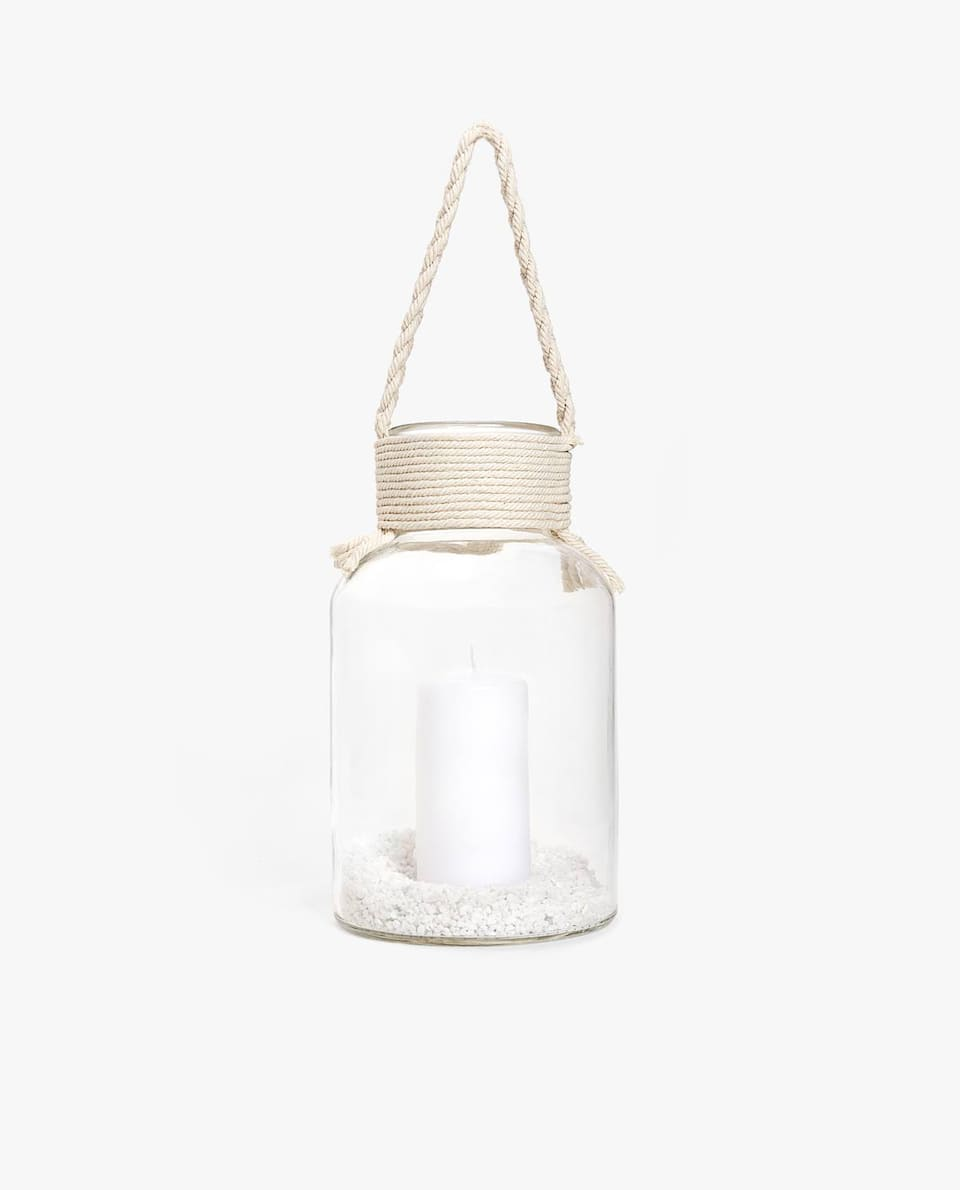 LANTERN WITH BRAIDED HANDLE