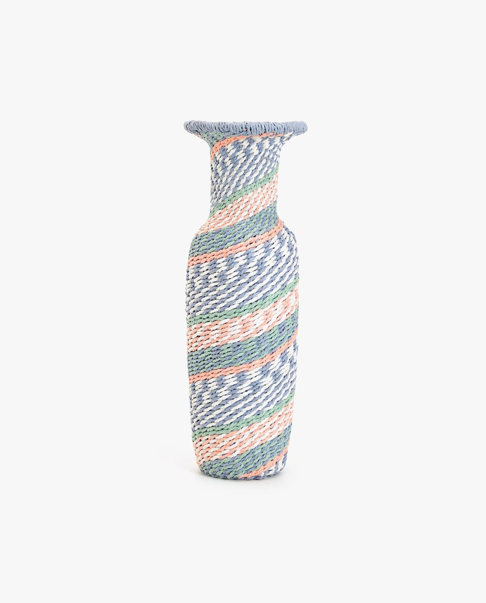 DECORATIVE MULTICOLORED RATTAN BOTTLE