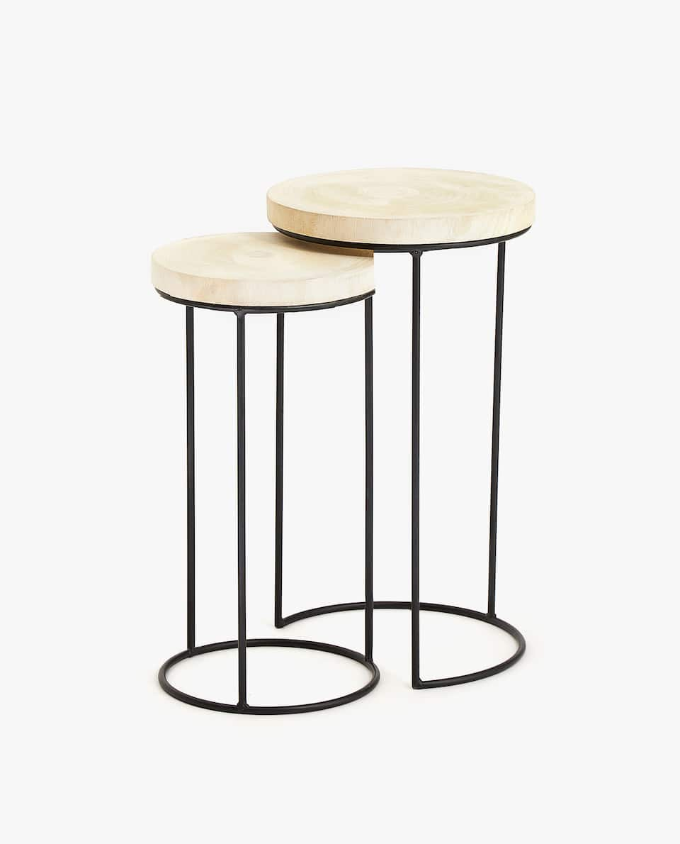 WOODEN NESTING TABLES WITH IRON STRUCTURE (SET OF 2)