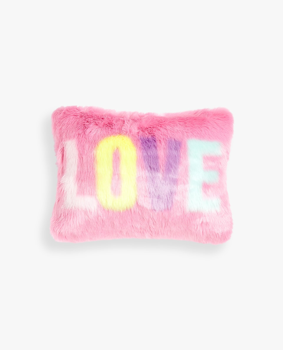 FUZZY LOVE SLOGAN CUSHION COVER
