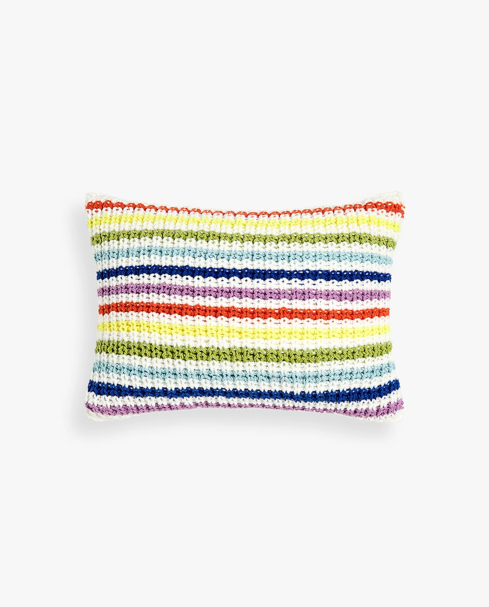 STRIPED CROCHET CUSHION COVER