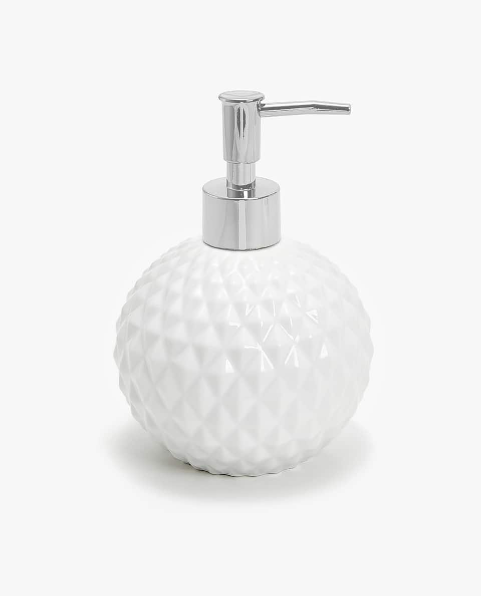 RAISED GEOMETRIC DESIGN SOAP DISPENSER