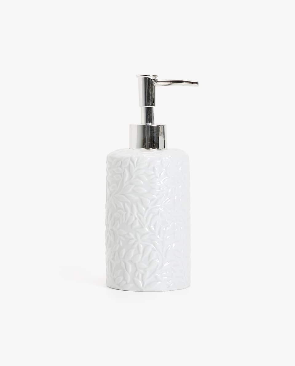 RAISED FLORAL DESIGN SOAP DISPENSER