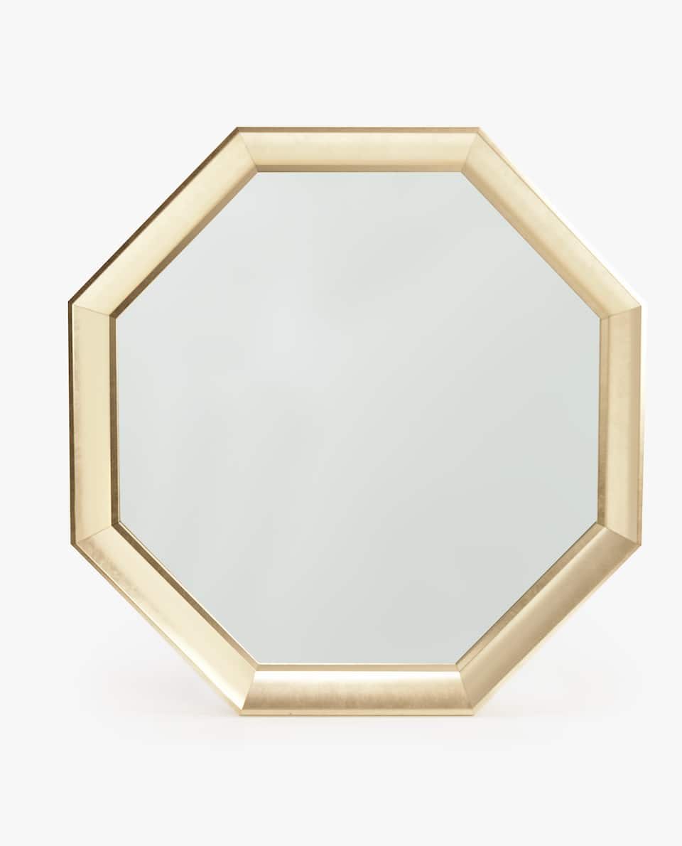OCTAGONAL MATTE GOLDEN MIRROR