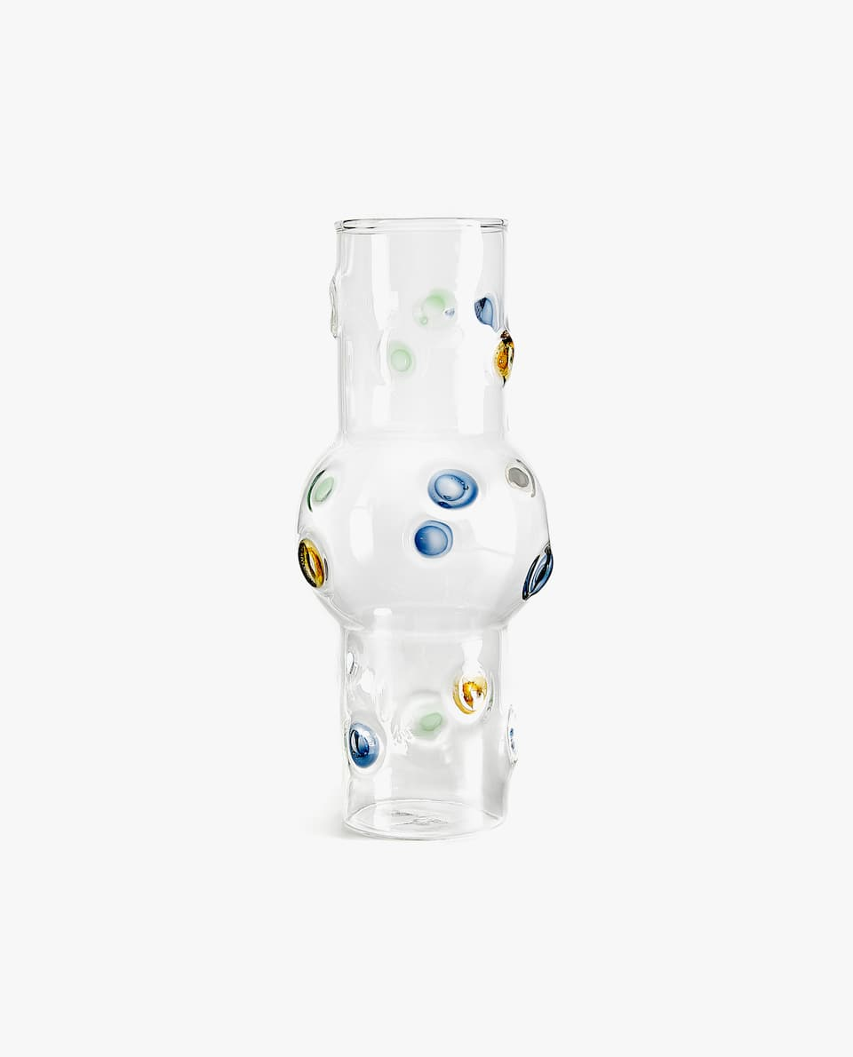 MULTICOLOURED POLKA DOT GLASS VASE