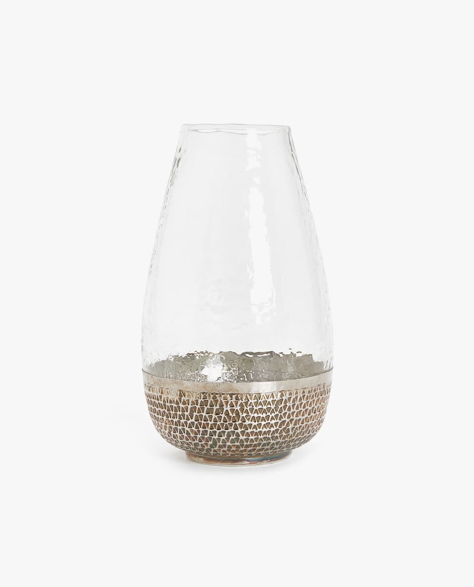 GLASS VASE WITH METAL BASE