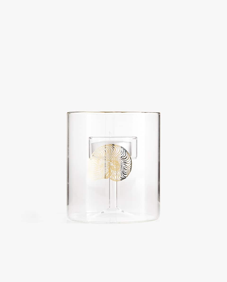 GOLD PRINT TEALIGHT HOLDER