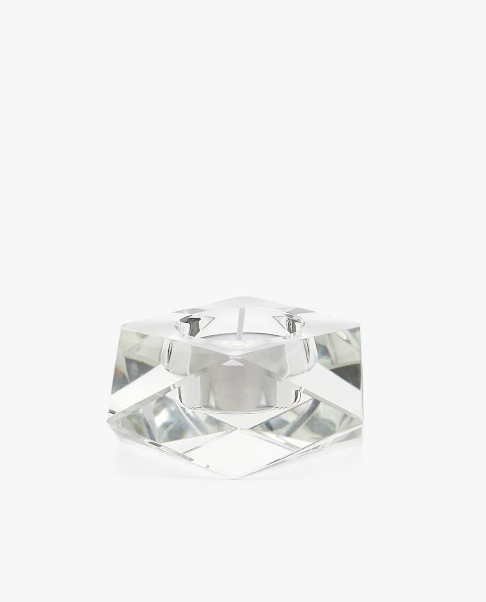 TRANSPARENT CRYSTAL TEALIGHT HOLDER