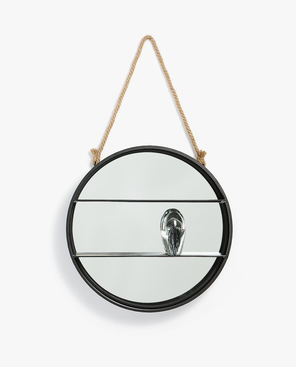 MIRROR WITH METAL SHELVES