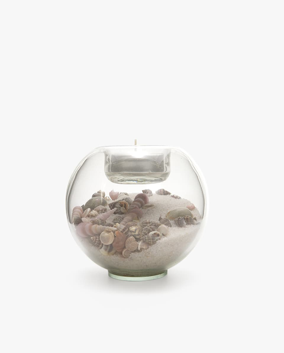 SEASHELL- AND SAND-FILLED TEALIGHT HOLDER