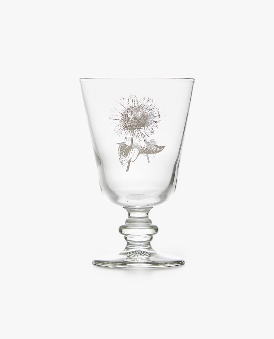 FLORAL PRINT WINE GLASS