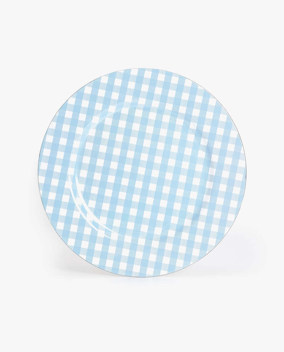 BLUE GINGHAM CHARGER PLATE