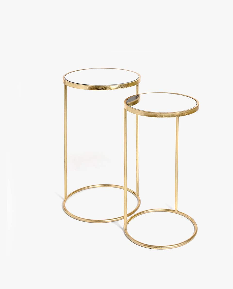MIRRORED TABLE WITH GOLDEN STRUCTURE (SET OF 2)