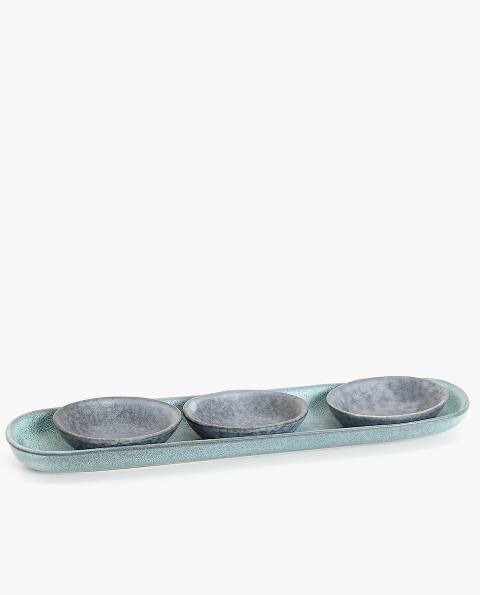 STONEWARE TRAY AND MINI BOWLS SET WITH A REACTIVE EFFECT