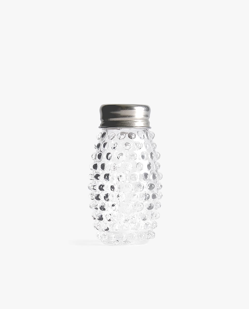 GLASS AND STEEL SALT SHAKER WITH RAISED DOTS
