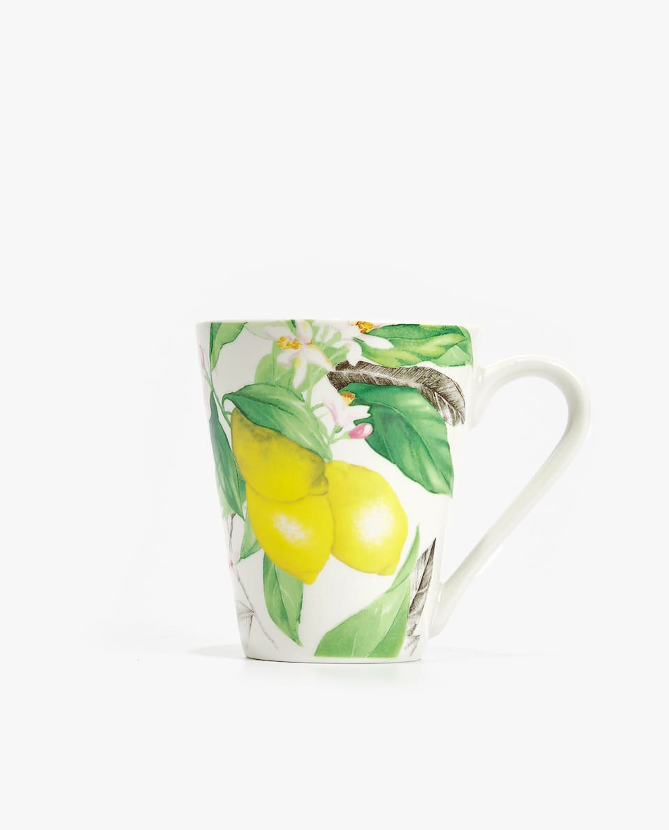 LEMON PRINT PORCELAIN MUG