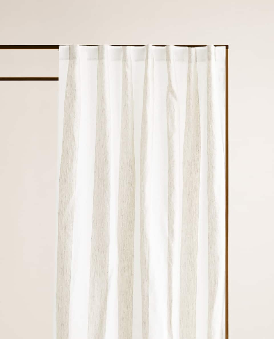 Two Tone Striped Linen Curtain