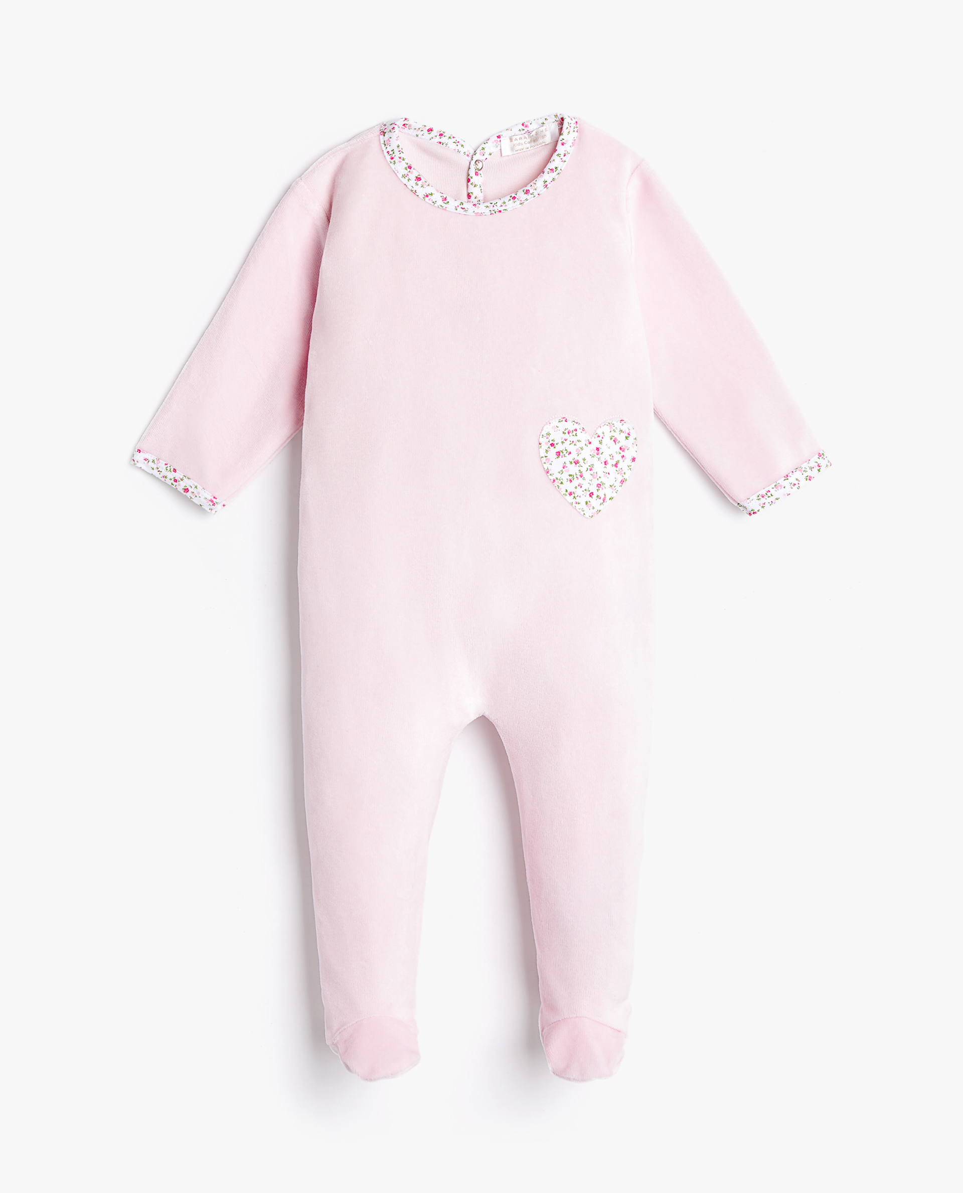 e0257b13 ROMPER SUIT WITH FLORAL-PRINTED HEART - BABY 3 MONTHS - 12 MONTHS ...