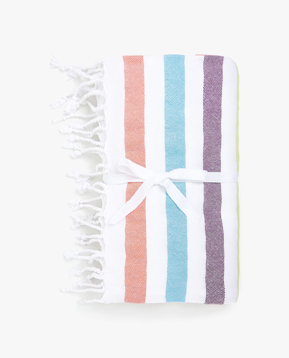 COTTON TOWEL WITH MULTICOLORED LINES