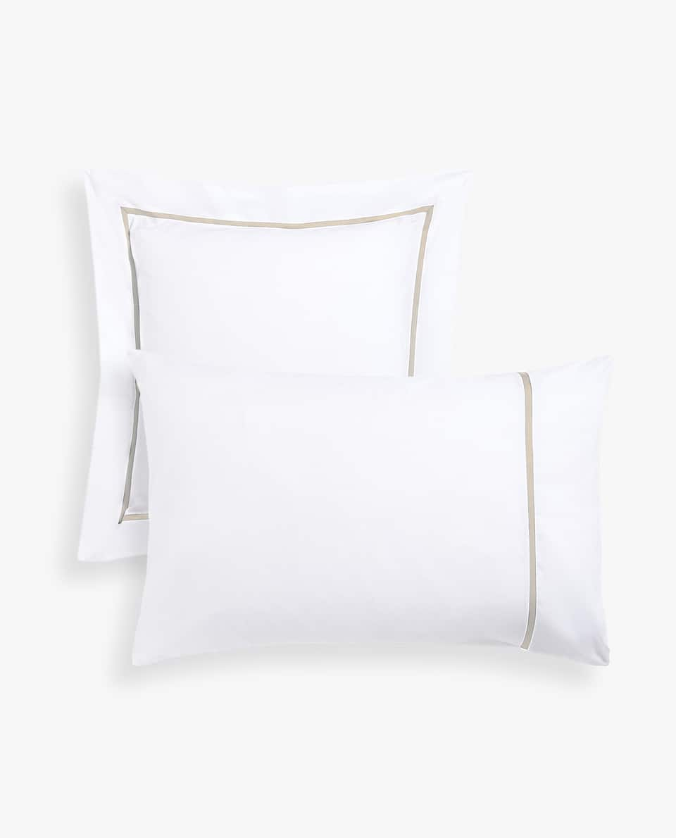 PILLOWCASE WITH CONTRASTING BEIGE RIBBON