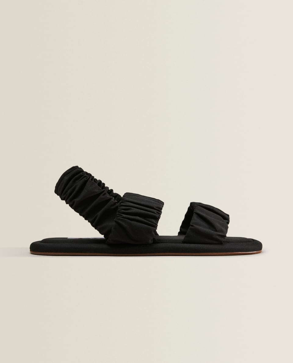 GATHERED DOUBLE-STRAP SANDALS