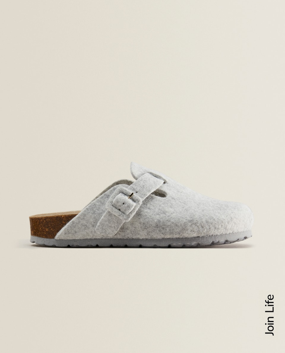 Grey felt clog slippers