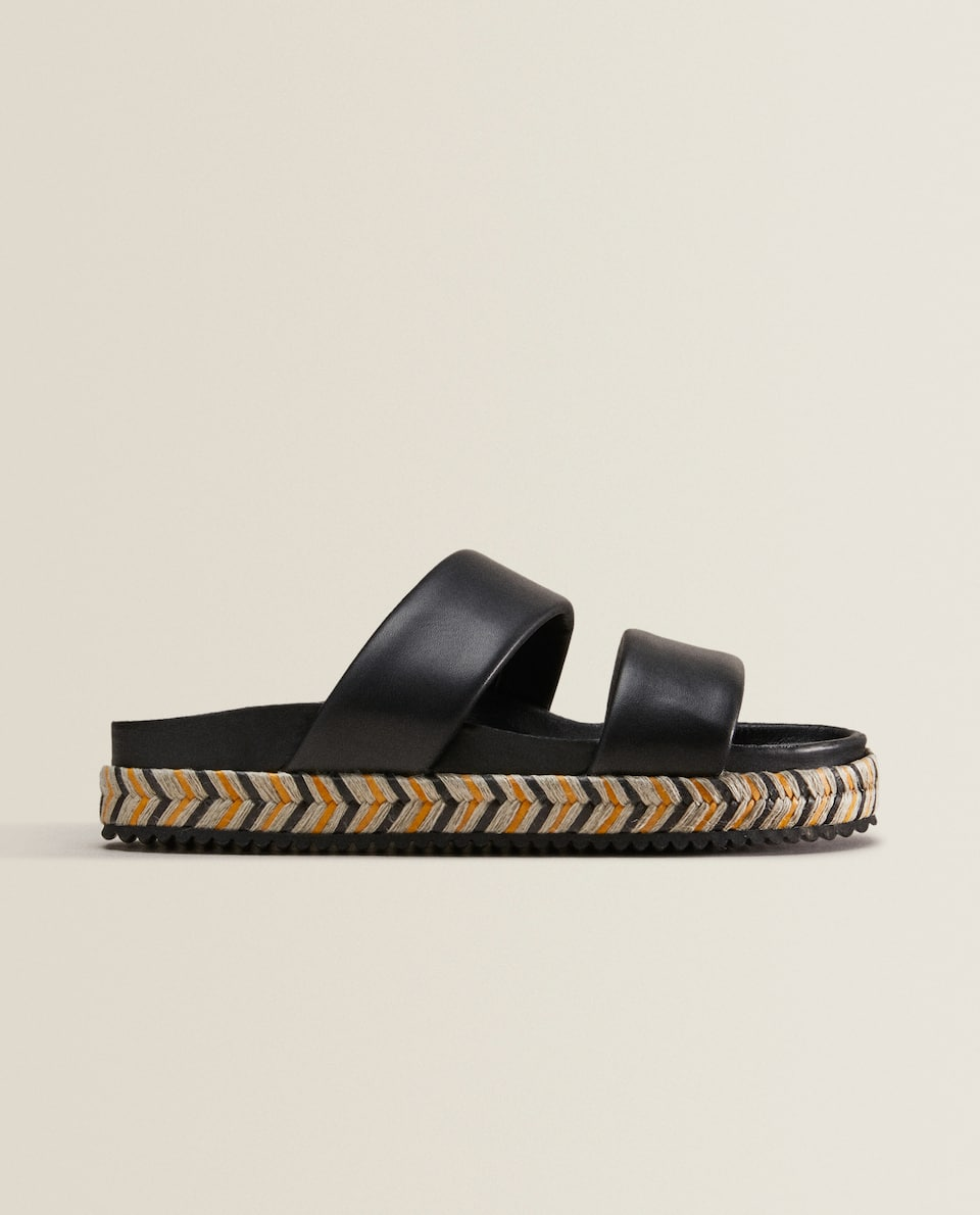 LEATHER DOUBLE-STRAP SANDALS