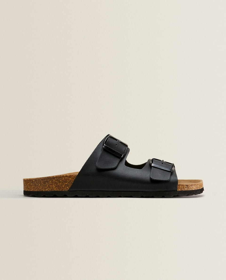 DOUBLE BUCKLE LEATHER SANDALS