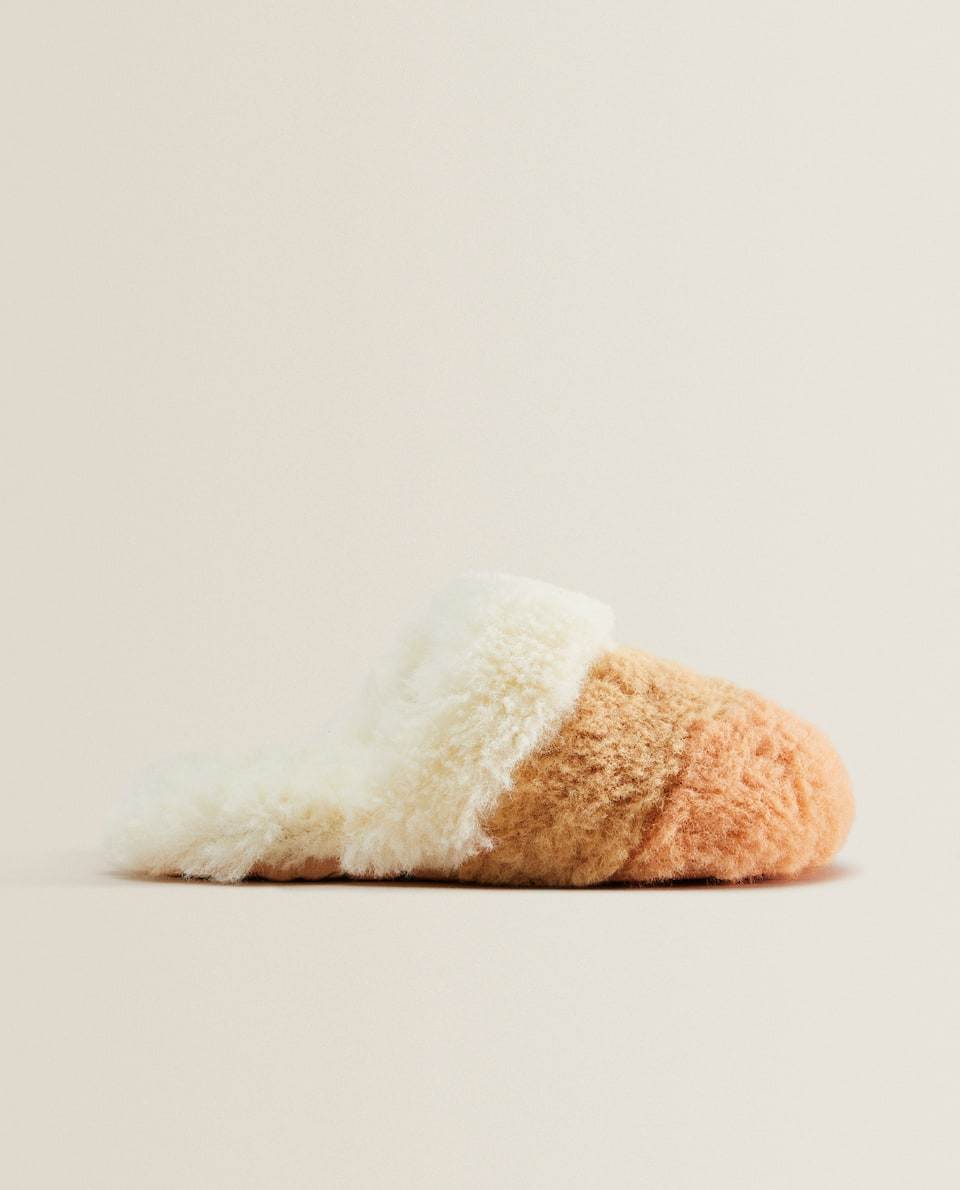 Combined faux fur mule slippers