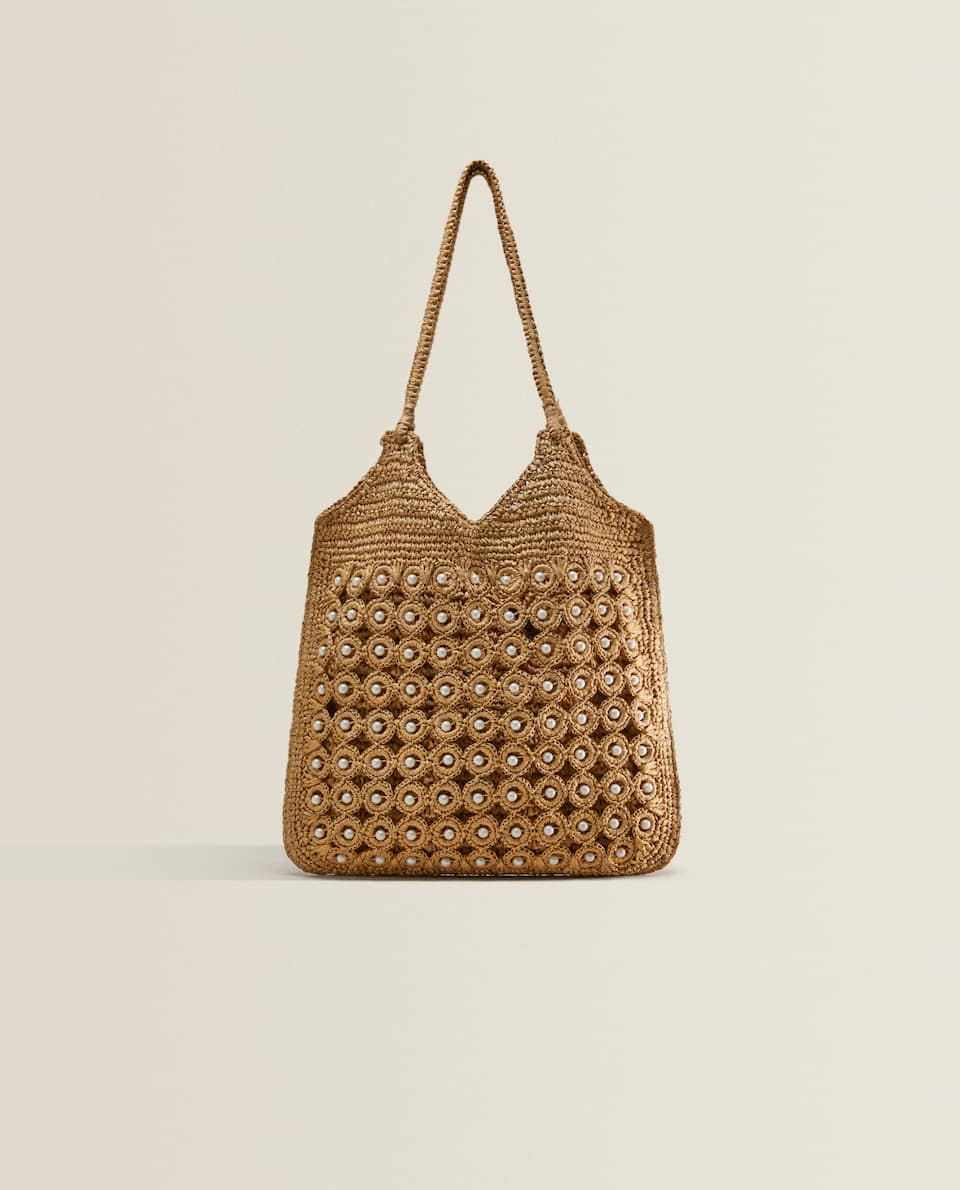 TOTE BAG WITH FAUX PEARLS