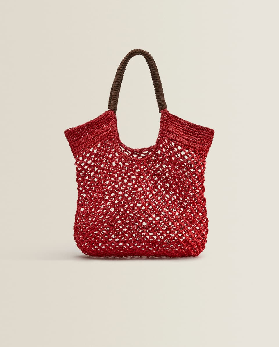 COLOURED TOTE BAG WITH STRAP DETAIL