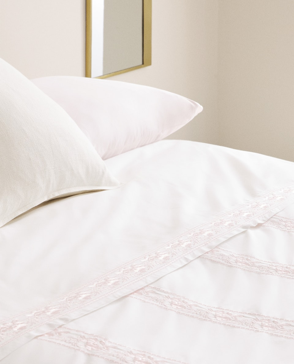 DUVET COVER WITH EMBROIDERED FRETWORK AND ROSES